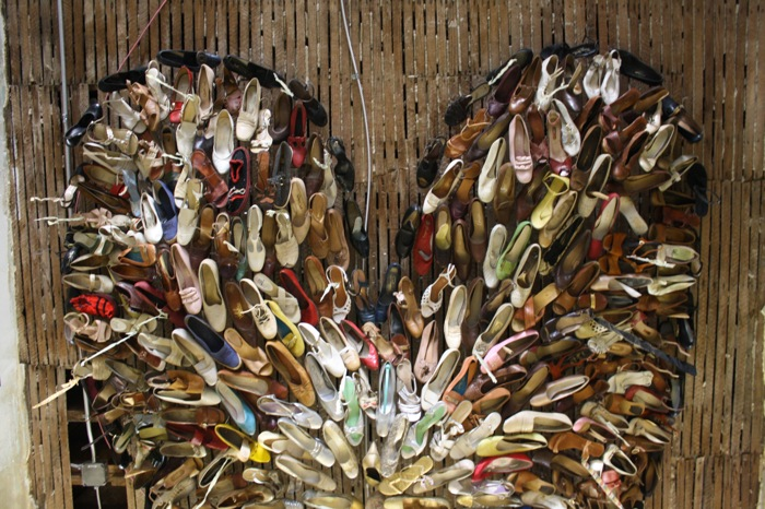 heart made of shoes