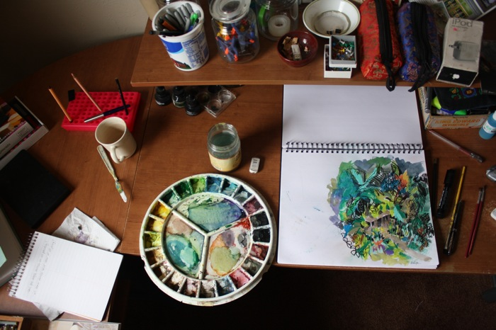 arial photo of art desk