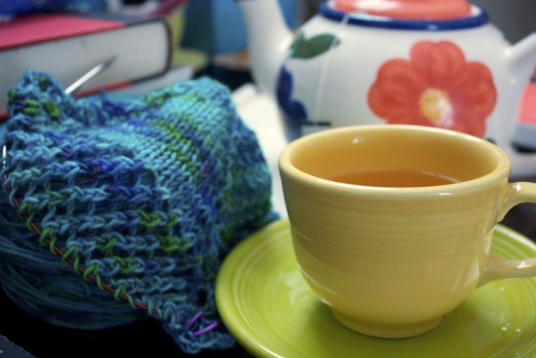 picture of tea and knitting