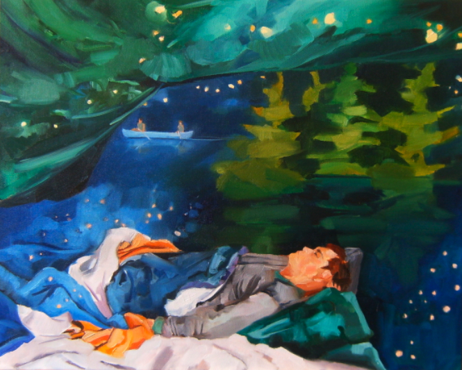oil painting of man sleeping in stars with canoe and pines at night