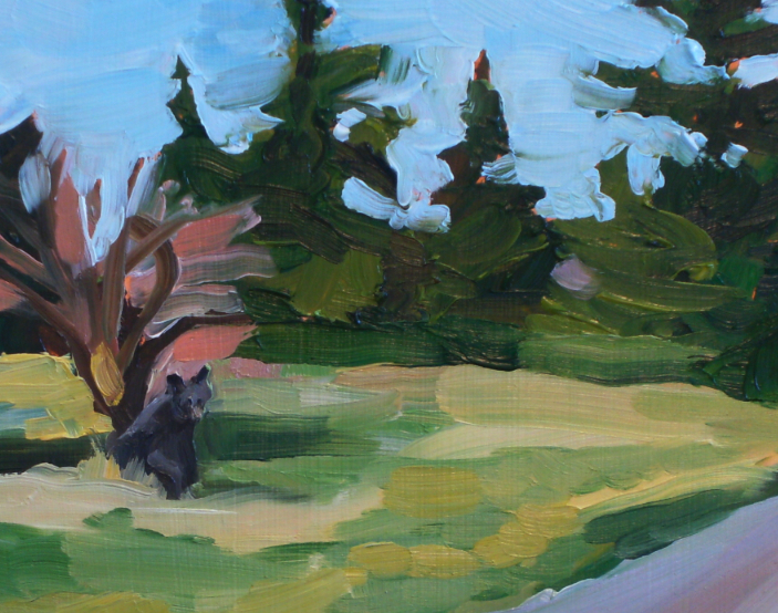 detail of painting of bear under tree
