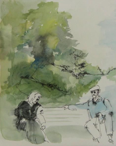 watercolour painting seniors bench lake