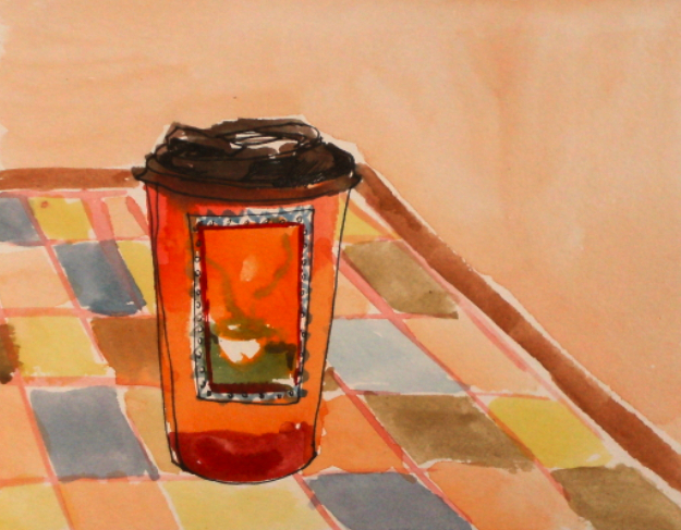 watercolour and ink drawing of orange coffee cup and tiled table