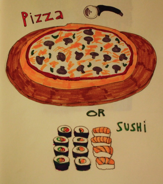 drawing marker of favorite food pizza sushi