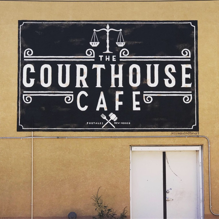 view of the back of the Courthouse Cafe in Portales, New Mexico